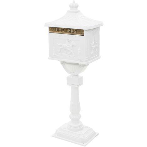 Buzón de pedestal de aluminio estilo vintage inoxidable blanco