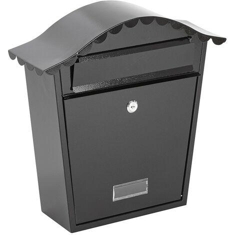 Buzón de Seguridad de Pared para Exterior/Cartas/Paquetes - 2 Llaves (Negro)