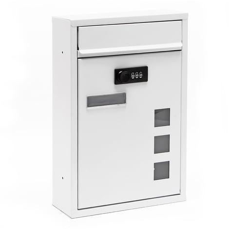 Buzón Decorativo Moderno Blanco de Pared Cerradura Individual Recubrimiento Polvo Exterior