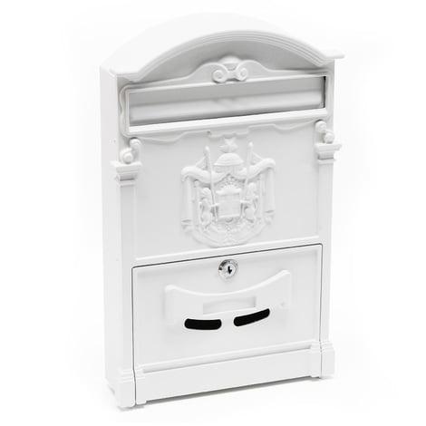 Buzón diseño Antiguo Decorativo Pared Blanco llaves Cerradura Placa Identificación