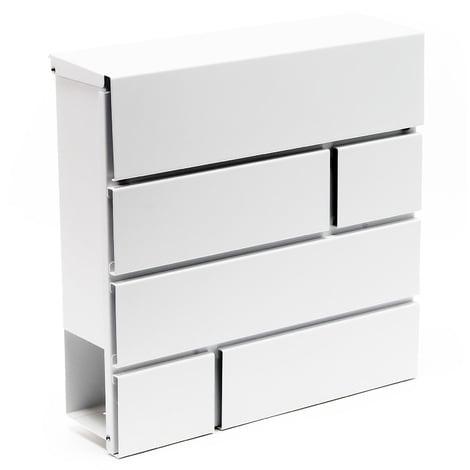 Buzón Diseño Moderno V15 Postbox Blanco Compartimiento Periódico Acero recubierto en polvo