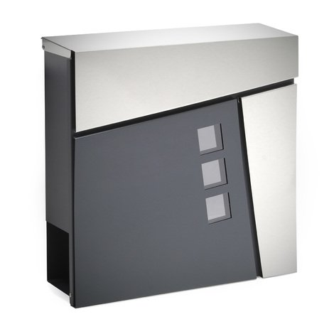 Buzón Diseño Moderno V24 Antracita Compartimiento Periódico Acero recubierto en polvo