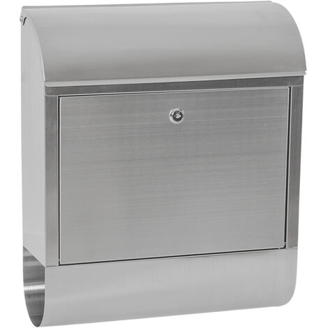Buzón XXL de acero inoxidable con compartimento para periódicos - buzón exterior de correo, buzón para cartas con compartimento para periódicos, buzón comunitario de acero - gris