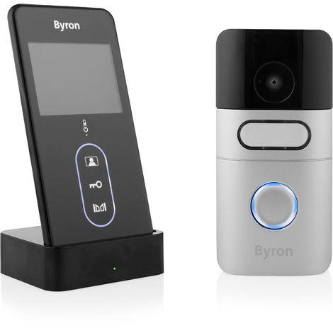 """main image of """"Byron DIC-24615 Interphone portier vidéo sans fil - Portable - 200 mètres de portée - Avec piles rechargeables"""""""