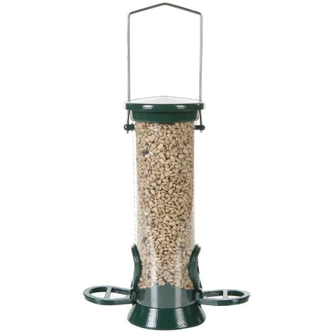 C J Defender 2 Port Bird Seed Feeder (One Size) (Green)