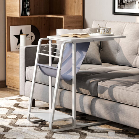 C Shaped End Table Sofa Side/Coffee/Snack/Storage Trolly Narrow Table for Home,Living Room,Office