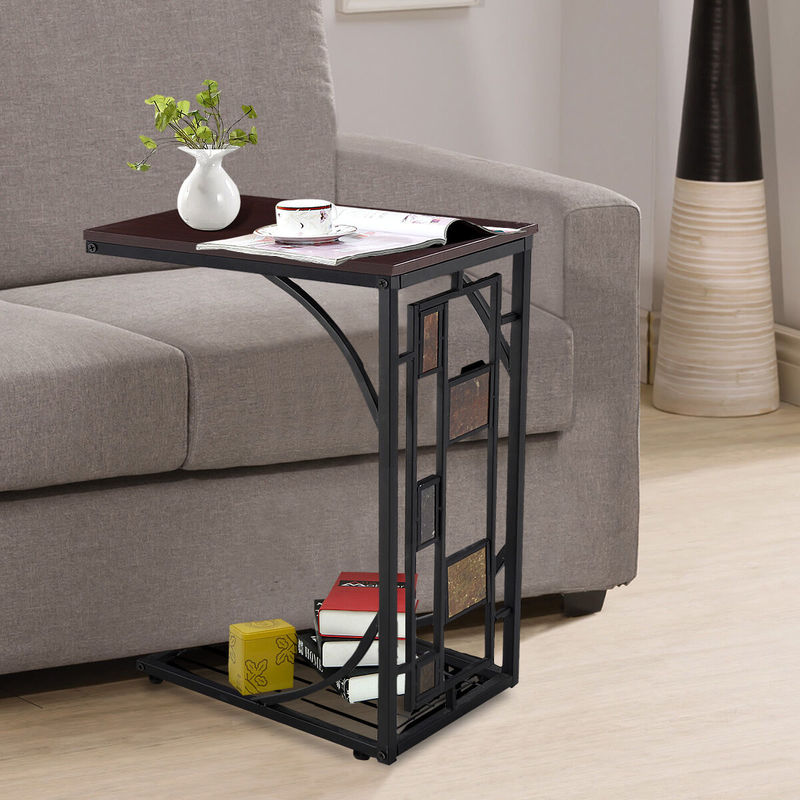 C Shaped Side Table Sofa Bed Coffee End Tables For Living Room Office Bedroom