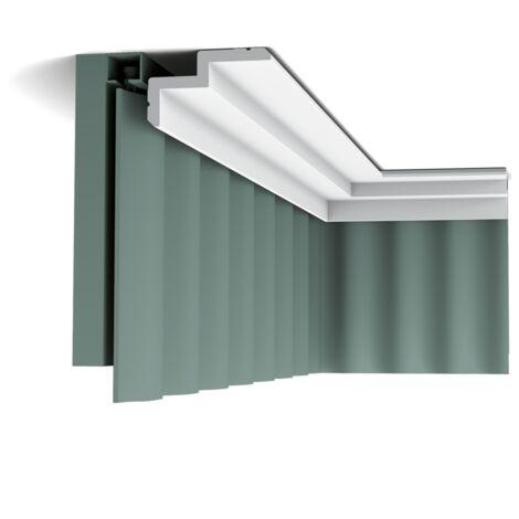 C390 STEPS Corniche plafond pour éclairage indirect et cache tringle à rideaux Orac Decor - 6x10x200cm (h x p x L) - moulure décorative polyuréthane - Conditionnement : A l'unité