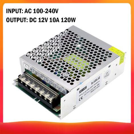 CA 100-240V a CC 12V 10A, 120W Transformador de voltaje Conmutacion regulada