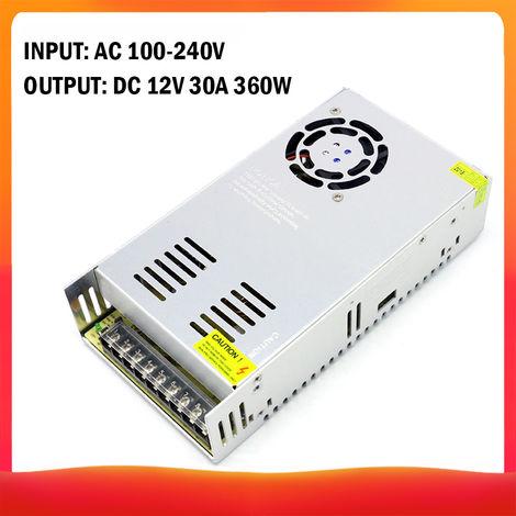 CA 100-240V a CC 12V 30A, conmutacion regulada por transformador de voltaje 360W
