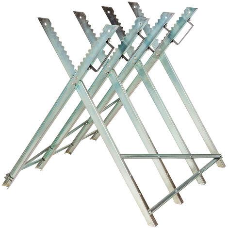 Caballete para serrar troncos de madera modelo 1 - caballete de metal ajustable, soporte para cortar leña con motosierra, estructura estable para serrar leños - gris