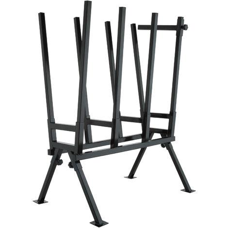 Caballete para serrar troncos de madera modelo 2 - caballete de metal ajustable, soporte para cortar leña con motosierra, estructura estable para serrar leños - negro