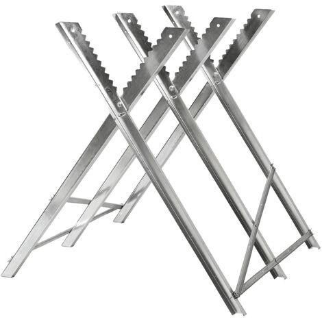 Caballete para serrar troncos de madera modelo 3 - caballete de metal ajustable, soporte para cortar leña con motosierra, estructura estable para serrar leños - plata