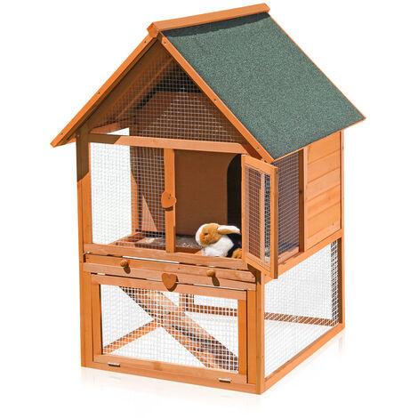 Cabane à lapins, stable pour lapins, clapier, stable pour petits animaux, cage pour lapins, stable 2 étages X