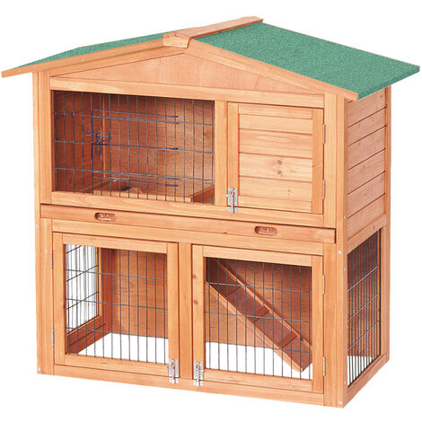 Cabane à petits rongeurs de luxe à deux étages - Cage à lapins
