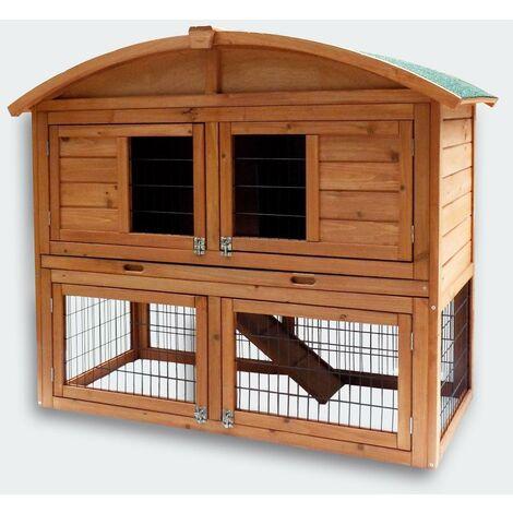 Cabane clapier à lapins rongeurs poulailler lapinière ou autres petits animaux en bois 1200 x 560 x 980 mm - Bois