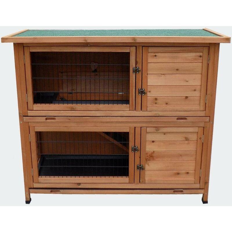 Helloshop26 - Cabane clapier à lapins rongeurs poulailler lapinière ou autres petits animaux en bois 1220 x 500 x 1040 mm - Bois