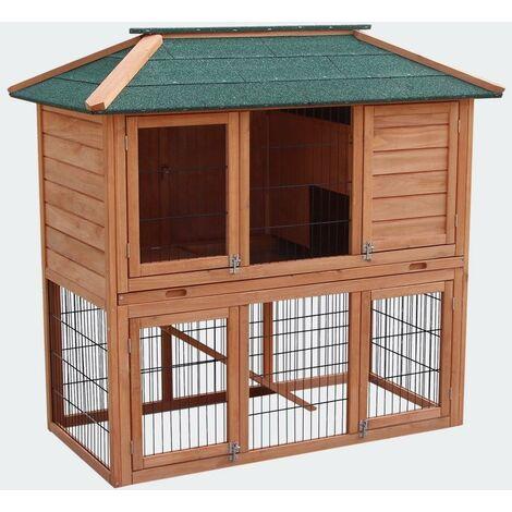 Cabane clapier à lapins rongeurs poulailler lapinière ou autres petits animaux en bois 1240 x 670 x 1210 mm - Bois