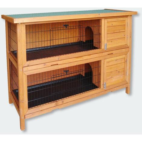 Cabane clapier à lapins rongeurs poulailler lapinière ou autres petits animaux en bois 1364 x 498 x 927 mm - Bois