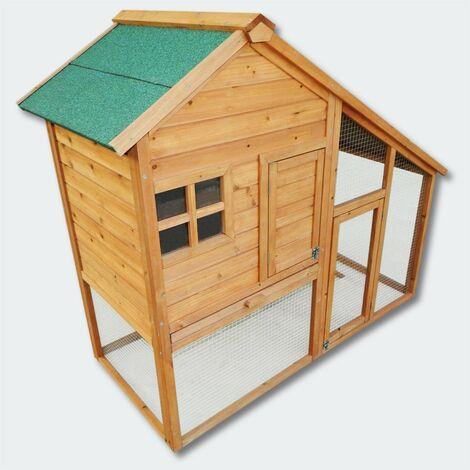 Cabane clapier à lapins rongeurs poulailler lapinière ou autres petits animaux en bois 1406 x 480 x 1200 mm - Bois