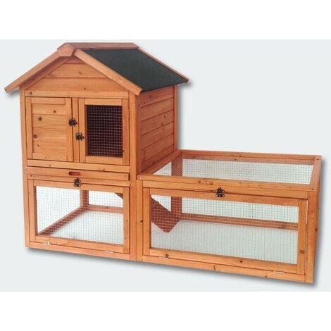 Cabane clapier à lapins rongeurs poulailler lapinière ou autres petits animaux en bois 1420 x 650 x 1000 mm - Bois