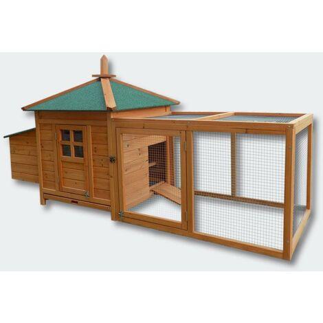 Cabane clapier à lapins rongeurs poulailler lapinière ou autres petits animaux en bois 1650 x 735 x 980 mm - Bois
