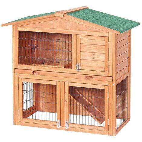 Cabane clapier à lapins rongeurs poulailler lapinière ou autres petits animaux en bois 870 x 450 x 1000 mm - Bois