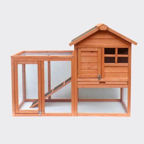 Cabane clapier à lapins rongeurs poulailler lapinière ou autres petits animaux en bois 870 x 465 x 1600 mm - Bois