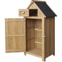 Cabane de jardin étroite, en bois de sapin, avec toit tar, 770x540x1420mm, cabane à outils
