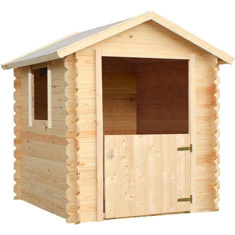Cabane en bois pour 3 enfants avec demie-porte - Lison