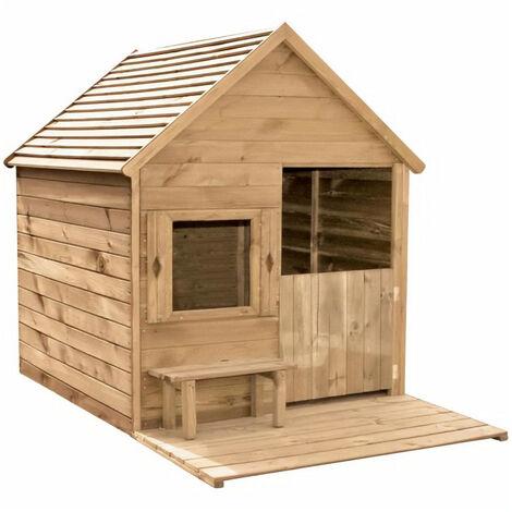 """main image of """"Cabane en bois traité avec terrasse et banc enfant - Heidi"""""""