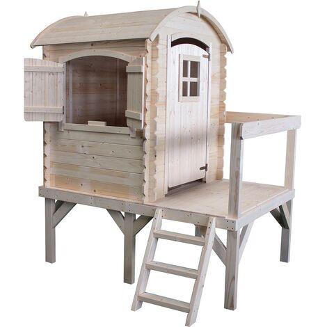 Cabane en bois sur pilotis avec échelle et garde-corps - Rose