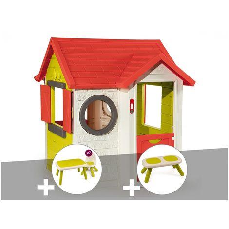 Cabane enfant My Neo House - Smoby + Table et 2 chaises + Banc