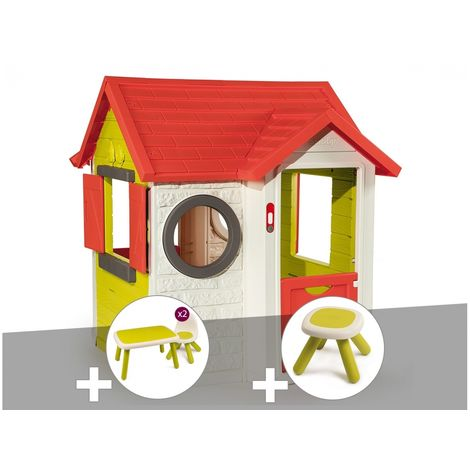 Cabane enfant My Neo House - Smoby + Table et 2 chaises + Tabouret