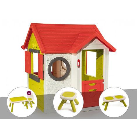 Cabane enfant My Neo House - Smoby + Table et 2 chaises + Tabouret + Banc
