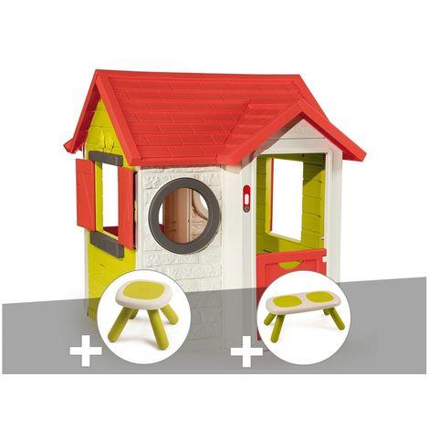 Cabane enfant My Neo House - Smoby + Tabouret + Banc