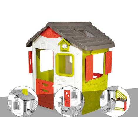 Cabane enfant Neo Jura Lodge - Smoby + Cheminée + Porte maison + Cuisine d'été
