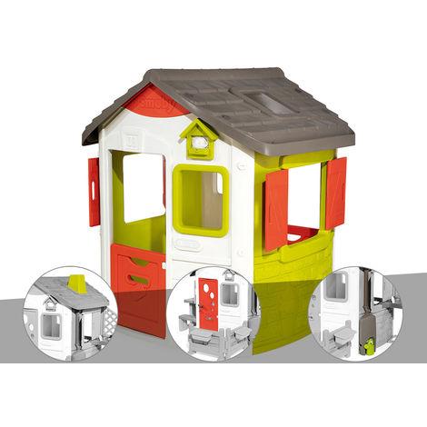 Cabane enfant Neo Jura Lodge - Smoby + Cheminée + Porte maison + Récupérateur d'eau