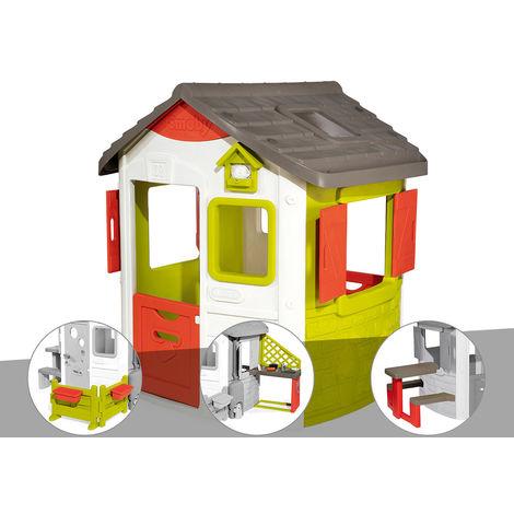 Cabane enfant Neo Jura Lodge - Smoby + Espace jardin + Cuisine d'été + Table pique-nique