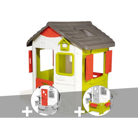 Cabane enfant Neo Jura Lodge - Smoby + Porte maison + Espace jardin