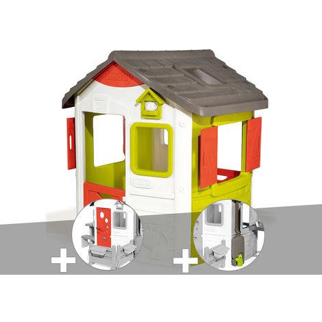 Cabane enfant Neo Jura Lodge - Smoby + Porte maison + Récupérateur d'eau