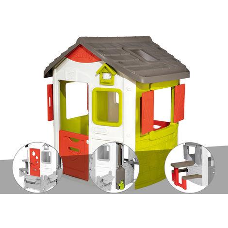 Cabane enfant Neo Jura Lodge - Smoby + Porte maison + Récupérateur d'eau + Table pique-nique
