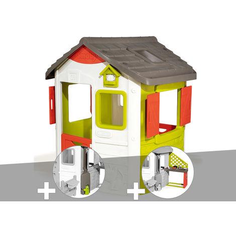 Cabane enfant Neo Jura Lodge - Smoby + Récupérateur d'eau + Cuisine d'été