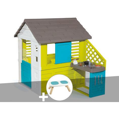 Cabane enfant Pretty + Cuisine d'été - Smoby + Banc