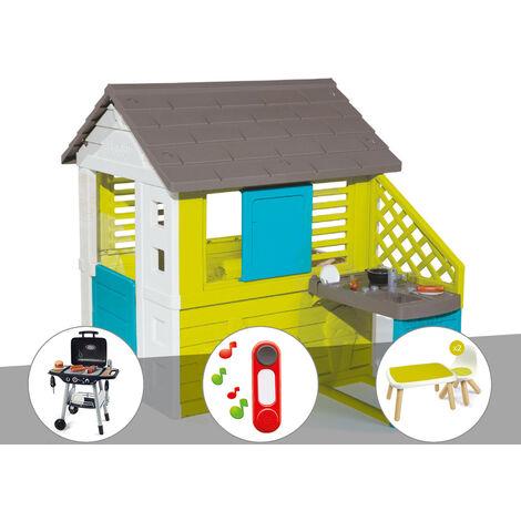 Cabane enfant Pretty + Cuisine d'été - Smoby + Barbecue / Plancha + Sonnette + Table et 2 chaises