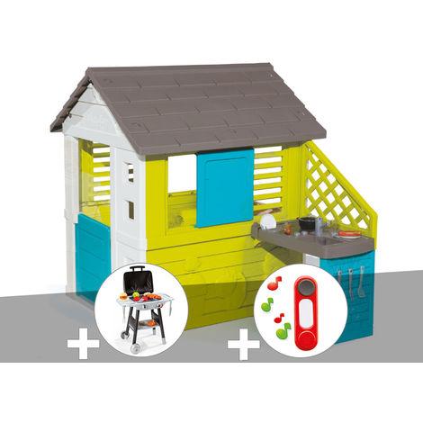 Cabane enfant Pretty + Cuisine d\'été - Smoby + Plancha + Sonnette