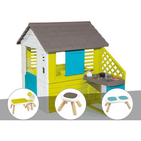 Cabane enfant Pretty + Cuisine d'été - Smoby + Table et 2 chaises + Tabouret + Banc