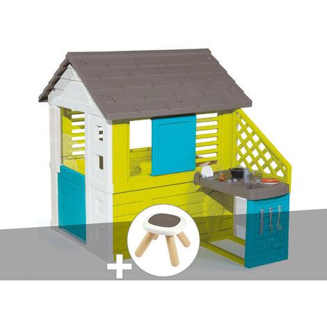 Cabane enfant Pretty + Cuisine d'été - Smoby + Tabouret