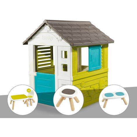 Cabane enfant Pretty - Smoby + Table et 2 chaises + Tabouret + Banc