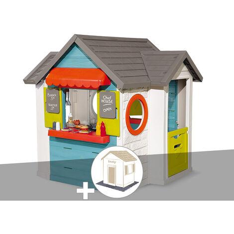 Cabane enfant Smoby Chef House + 2 Sets de 6 dalles